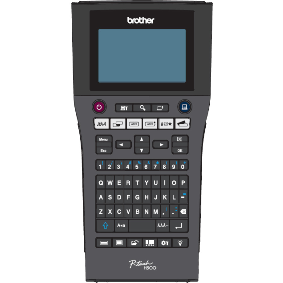 """Brother PTH500 Handheld, Standard PC style QWERTY keyboard, TZ tapes 3.5 to 24 mm, Auto Cutter,6 x """"AA"""" alkaline batteries, Li-ion battery optional, 30mm/sec. (AC adapter), backlight graphic LCD, PT …"""