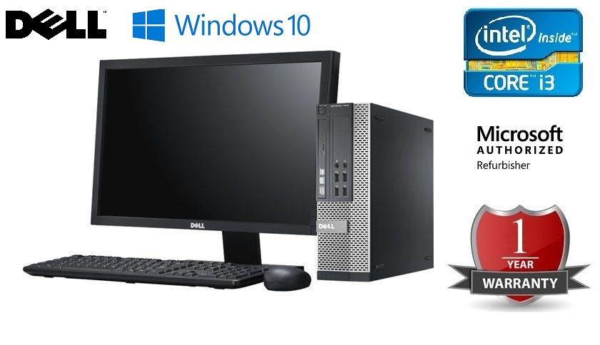 Bundle 20″ Monitor Dell + PC DELL OptiPlex 3010 Intel Core i3-3220/4GB RAM /250 GB HDD /DVD-RW /Win10 Keyboard and Mouse